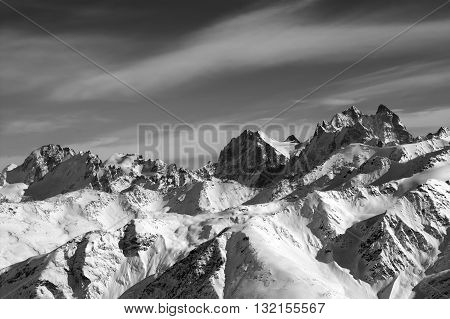 Black And White Mountains In Winter