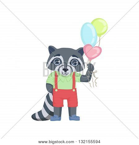 Boy Raccoon With Balloons Colorful Illustration In Cute Girly Cartoon Style Isolated On White Background