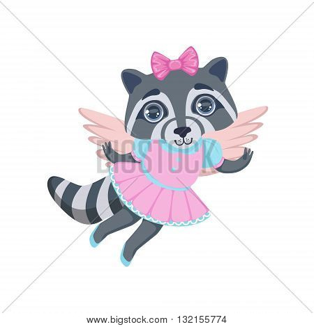 Girl Raccoon With Wings Colorful Illustration In Cute Girly Cartoon Style Isolated On White Background