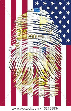 Euro Fingerprint and American Banner 3D Render