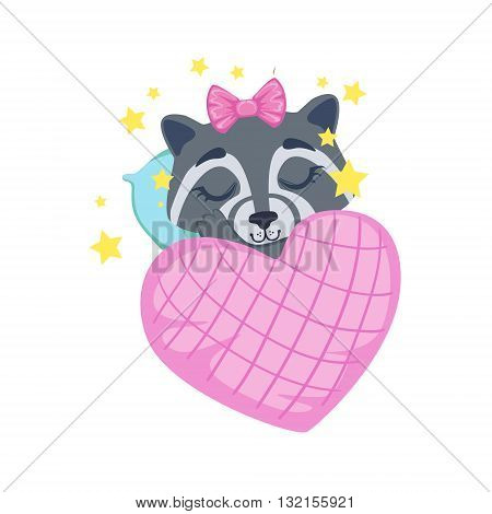 Girl Raccoon Sleeping Colorful Illustration In Cute Girly Cartoon Style Isolated On White Background