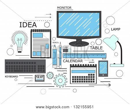 Power of knowledge, learning process, self education in applied science, computer technology for study. Modern concept. Line art. Vector illustration