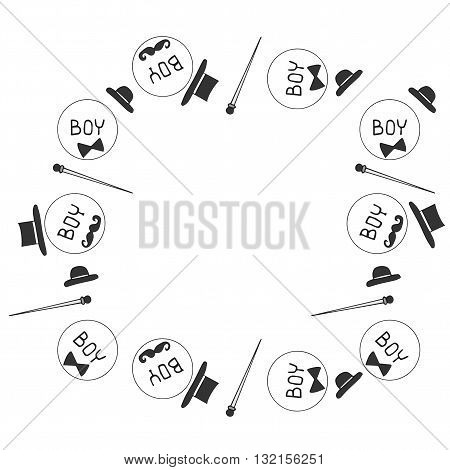 Frame for boy with hat walking stick and mustaches. Vector illustration for graphic design cards posters texture backgrounds placards banners other decoration.