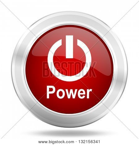 Power icon. Red round glossy metallic button. Web and mobile app design illustration