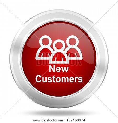 New Customers icon. Red round glossy metallic button. Web and mobile app design illustration