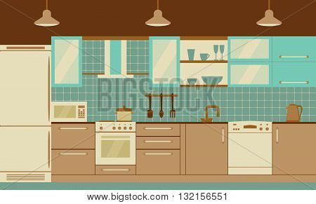 Kitchen interior design with home furniture and kithenware. Vector flat illustration. Retro palette