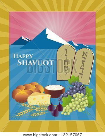 Shavuot Festival greeting card design vector template. Greeting Happy Shavuot. Torah Tablets Mount Sinai raising sun. Fruit bread cheese & stalks traditional for Shavuot holiday. Layered editable
