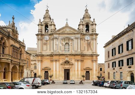 Mdina Malta - May 04 2016: Carmelite Church and Priory in Mdina Malta - Old Capital and the Silent City of Malta - Medieval Town