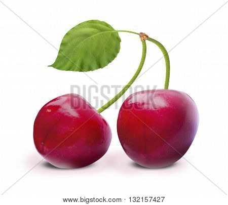 Cherry with leaf on a white background with clipping path. Ripe cherry isolated. Sherry berry fruit isolated on white background. Sweet cherry. Red cherry. Cherry on white. Cherry isolated.