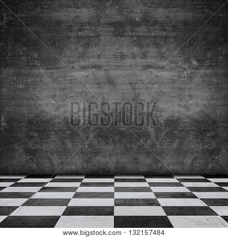 Old Scratched Wall Chequered Pattern Floor