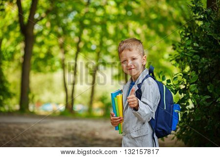 Cute little kid boy with books and backpack shows class on green nature background. Back to school concept
