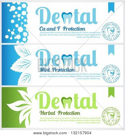 Dental horizontal banners. Set of toothpaste pack labels