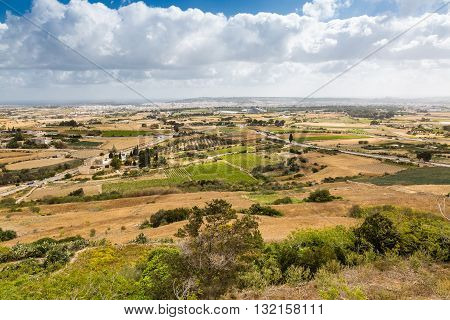 View Of The Landscape From The Walls Of Mdina On Malta.
