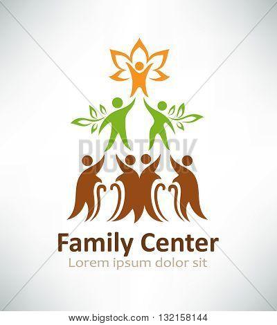 Family center logo design. Family tree logotype concept icon.