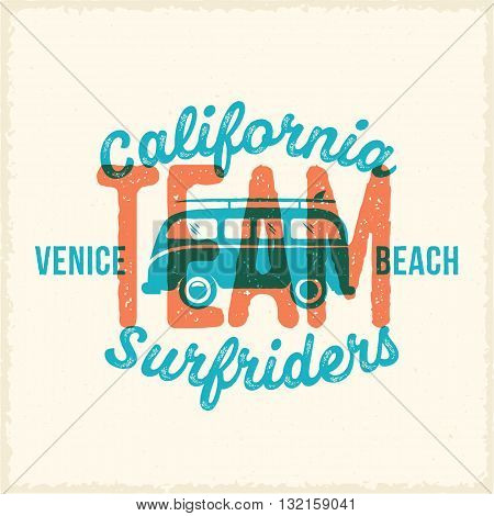 Retro Print Style Surfing Vector Label or Logo Template. Surf Van with Surfboard and Vintage Typography. Weathered Look T Shirt Print with Shabby Textures. Also Good For Apparel, Posters, etc.