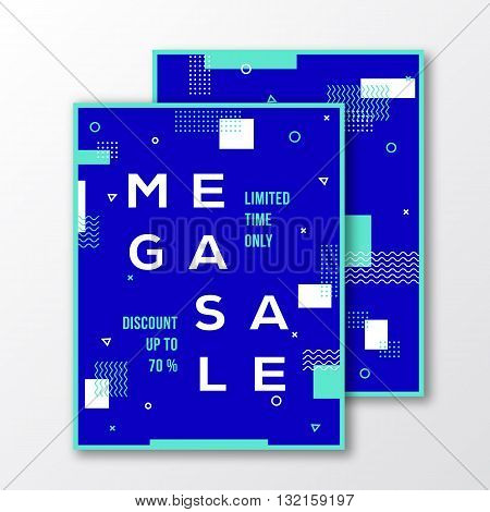 Mega Sale Season Poster, Card or Flyer Template. Modern Abstract Flat Swiss Style Background with Decorative Stripes, Zig-Zags, Minimal Typography. White, Blue Colors. Soft Realistic Shadows. Isolated