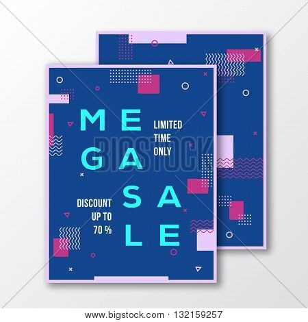 Mega Sale Season Poster, Card or Flyer Template. Modern Abstract Flat Swiss Style Background with Decorative Stripes, Zig-Zags, Creative Typography. Pink, Blue Colors. Soft Realistic Shadows. Isolated