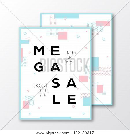 Mega Sale Season Poster, Card or Flyer Template. Modern Abstract Flat Swiss Style Background with Decorative Stripes, Zig-Zags, Creative Typography. Pink, Mint Colors. Soft Realistic Shadows. Isolated