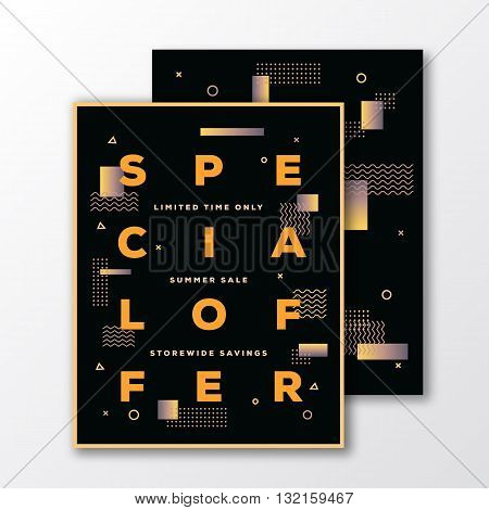 Sale Special Offer Poster, Card or Flyer Template. Modern Abstract Flat Swiss Style Background with Decorative Stripes and Creative Typography. Mild Colors Gradient. Soft Realistic Shadows. Isolated.