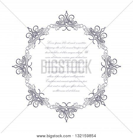 Ornate frame with text inside on the white background. Vector illustration