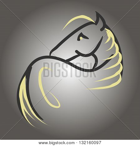 Symbolic image of a horse with a long mane. Abstraction on a gray background vector. The pattern of lines in the form of a horse.