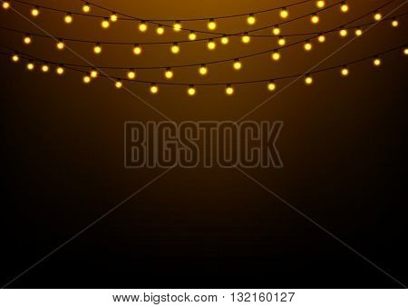 Abstract background with glowing lights  fairy garland