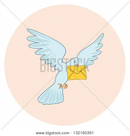 Post pigeon. Vector illustration. Homer. Flying bird with message.
