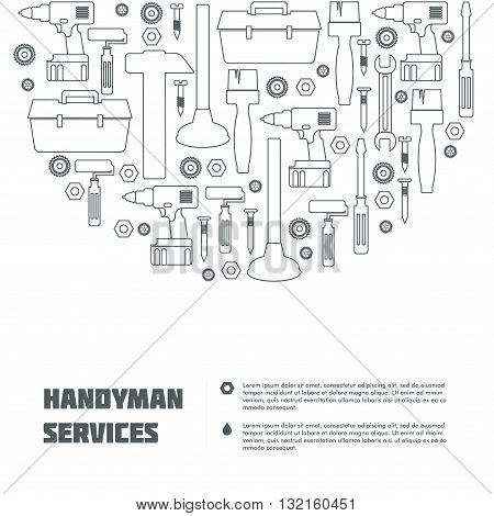 Handyman Tools banner. Amenities repair house hold equipment fixing symbols. Vector graphics for working tools, plumbing, renovation, best quality service concept. Sample text. May use as a web site element. Editable