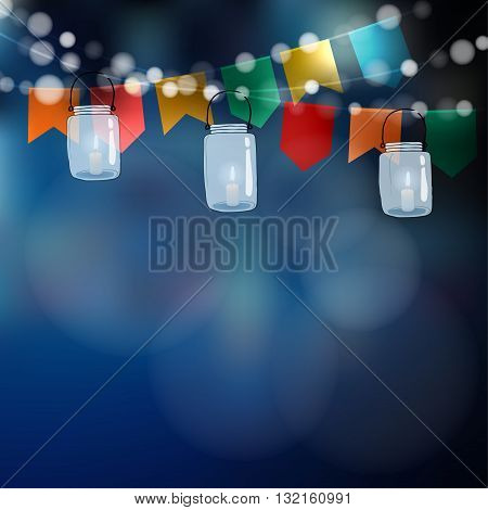 Brazilian june party. Festa junina. String of lights party flags. Jar lanterns. Summer garden party decoration. Festive blurred background. Stock vector invitation.