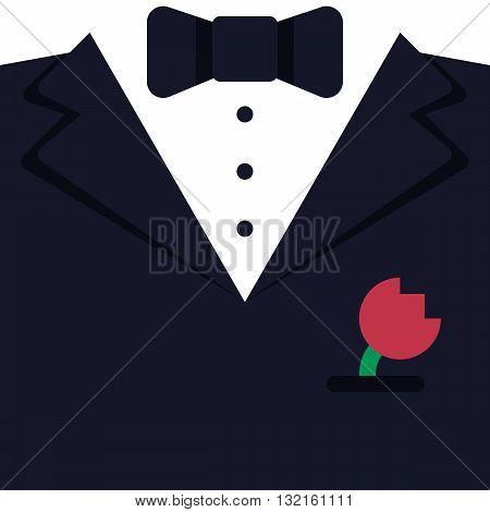 Flat suit icon background dark wedding suit with flower