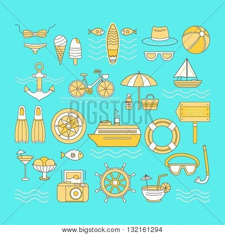 Set of vector icons summer. Banner on the theme of summer. Different elements of a summer vacation - a cruise liner, beach, surfboard, boat, swimsuit, cocktail, hat, sunglasses and other.