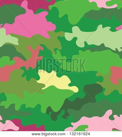 Vector illustration of green water camouflage seamless pattern. Pink romantic accent