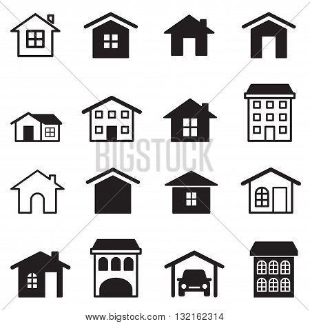Home condominium Tower Apartment icons set  graphic design