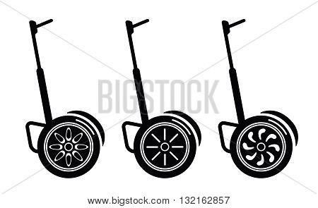 self-balancing electric scooters illustration on white background