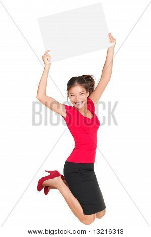 Jumping Excited Woman Showing Sign