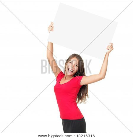 Happy Woman Showing Sign
