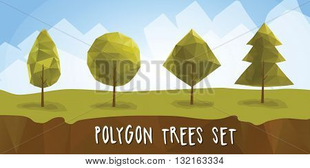 Geometric polygon trees with different crowns. low-poly and isometric trees