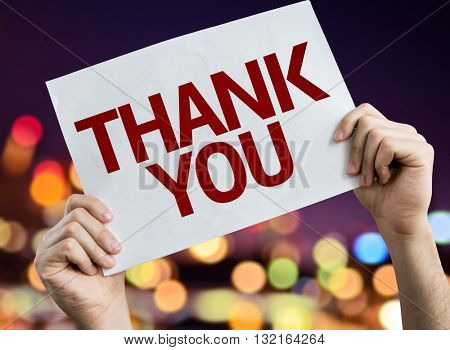 Thank You placard with bokeh background