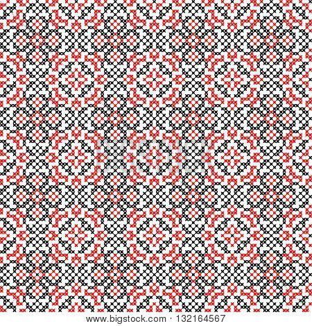 Isolated seamless texture with red and black abstract patterns for tablecloth.Embroidery.Cross stitch