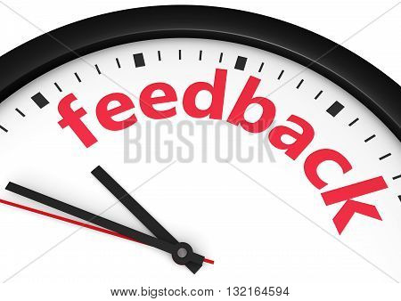 Customer satisfaction feedback time and business customer care concept with a clock and feedback sign printed in red 3D illustration.