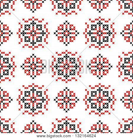 Isolated seamless texture with red and black abstract patterns for cloth. Embroidery. Cross stitch