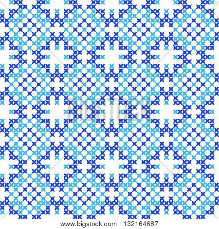 Seamless isolated texture with abstract blue embroidered patterns for cloth. Embroidery. Cross stitch
