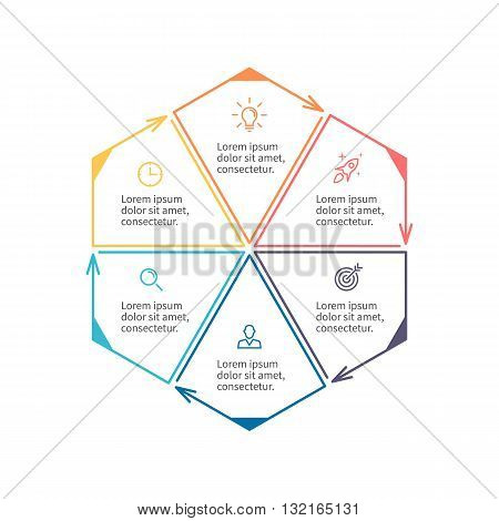 Hexagon for infographics. Minimalistic chart, diagram with 6 steps, parts. Vector design template.