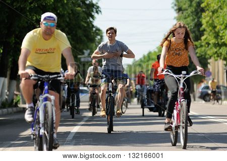 Orel Russia - May 29 2016: Russian Bikeday in Orel. Bicyclists riding in crowd horizontal