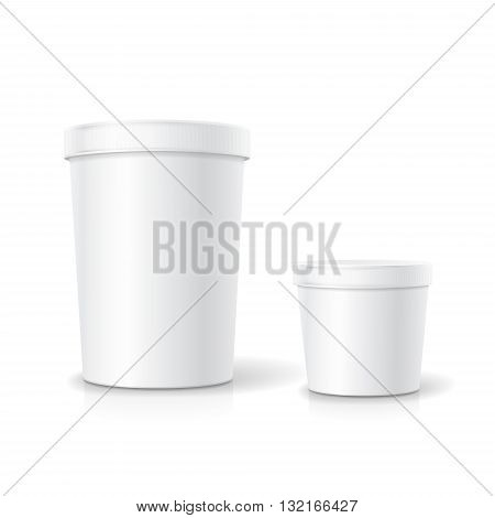White food plastic tub bucket container for dessert, yogurt, ice cream, sour cream or snack.