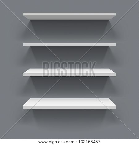 White 3D shelves with grey wall background vector illustration. Vector shelves template with realistic shadow.