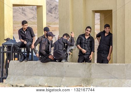 Sharm El Sheikh Egypt - May 07 2014: Armed egyptian government military police at one of the checkpoints.