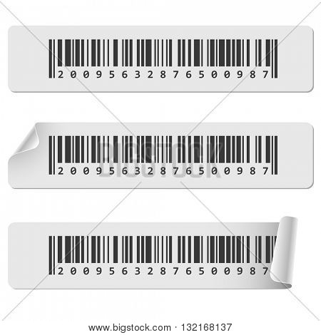 Horizontal white barcode sticker vector template. Barcode tags with curled corner.