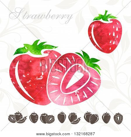 Strawberry set. Watercolr strawberries with strawberries icons set