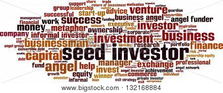 Seed investor word cloud concept. Vector illustration